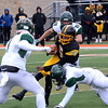 Detroit King jumped out to a 14-0 lead over Birmingham Groves Saturday afternoon in a Division 2 state semifinal. The Crusaders went on to defeat the Falcons, 14-7, to advance to the state finals next weekend. (MIPrepZone photo by Jason Schmitt)