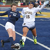 Oxford's Kaitlyn Romano (15) and Berkley's Brianna Brudenell (18) battle for the ball during the OAA White match played on Monday May 1, 2017 at Oxford HS.  The Wildcats and Bears played to a scoreless draw.  (MIPrepZone photo by Ken Swart)