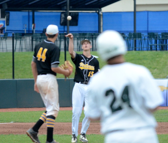 Madison Heights Bishop Foley scored early and often and senior Justin Campbell pitched a gem to help the Ventures top Ann Arbor Gabriel Richard, 9-1, to capture the Catholic League C-D championship Wednesday. (MIPrepZone photo by Jason Schmitt)