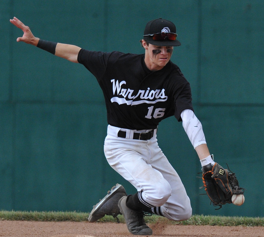 . Brother Rice shortstop Josh Anschuetz makes a play on a Northville ground ball during the MHSAA D1 baseball quarterfinal played on Tuesday June 12, 2018 at Wayne State University.  The Warriors defeated the Mustangs 9-2.  (Oakland Press photo by KEN SWART)