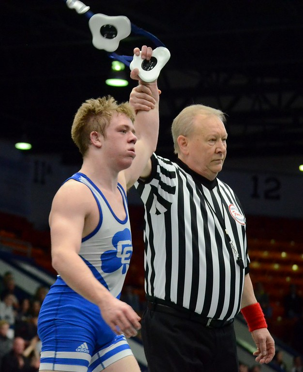 . Novi Detroit Catholic Central earned a 49-6 win over Davison in the Division 1 wrestling semifinal on Saturday at Wings Event Center in Kalamazoo (Oakland Press photo gallery by Drew Ellis)