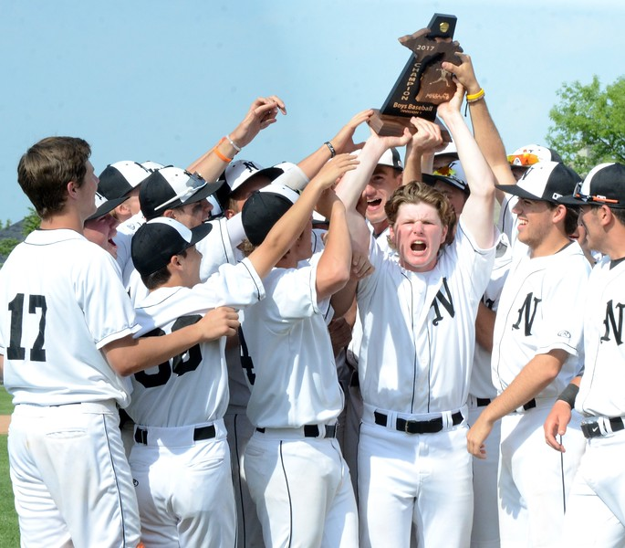 Northville defeated Catholic Central, 10-0 in five innings, in the Division 1 district baseball final at Northville High School on Saturday. Novi and South Lyon also competed in the tournament. (MIPrepZone photo by Drew Ellis)