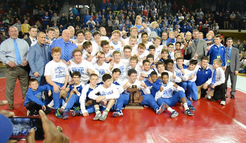 The Shamrocks of Novi Detroit Catholic Central were the state champions after beating Davison in the D1 team state wrestling finals. (MIPrepZone photo by MARVIN GOODWIN).