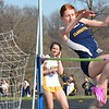 Ally Osborn of Clarkston competes in the high jump. Rochester Adams visited Clarkston for an OAA Red dual track and field meet and each squad came away with victories. Adams's girls got a rare victory over the Wolves and Clarkston's boys were triumphant. (MIPrepZone photo gallery by MARVIN GOODWIN).