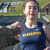 Elizabeth Dalrymple of Clarkston finishes first in the 1,600 run. Rochester Adams visited Clarkston for an OAA Red dual track and field meet and each squad came away with victories. Adams's girls got a rare victory over the Wolves and Clarkston's boys were triumphant. (MIPrepZone photo gallery by MARVIN GOODWIN).