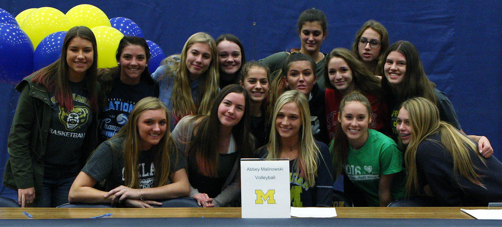 . National signing day ceremonies at Clarkston High School Wednesday, Nov. 8, 2017. (For The Oakland Press / LARRY McKEE)