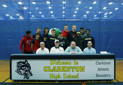 National signing day ceremonies at Clarkston High School Wednesday, Nov. 8, 2017. (For The Oakland Press / LARRY McKEE)