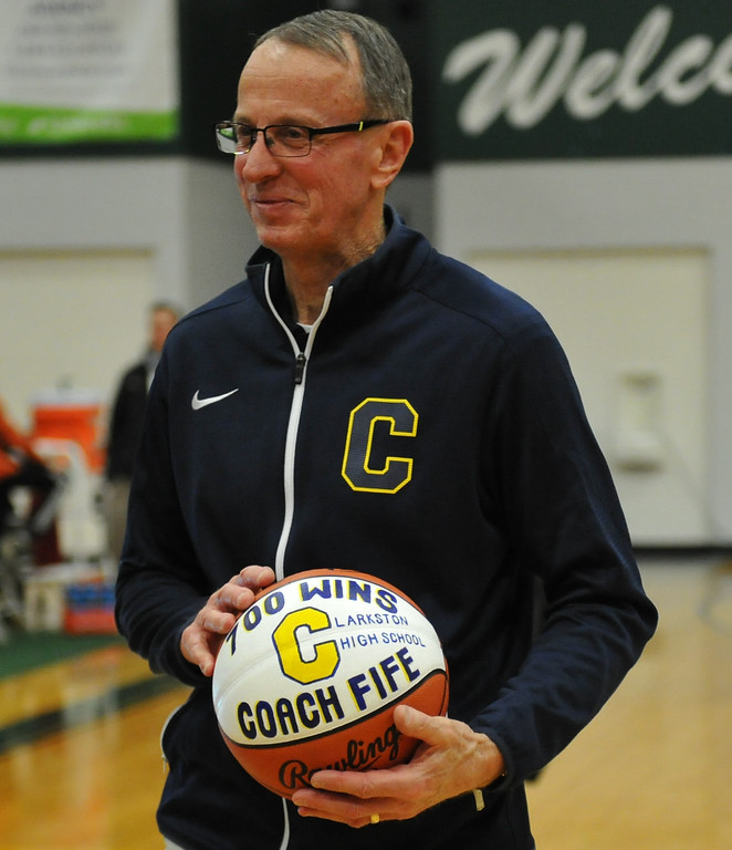 . Clarkston head coach Dan Fife collected his 700th win as the Wolves defeated Orchard Lake St Marys 58-35 to win the Class A Regional title. The game was played on Wednesday March 14, 2018 at West Bloomfield HS.  (Oakland Press photo by Ken Swart)
