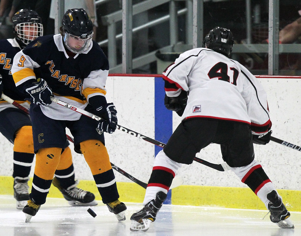 . Birmingham United and Clarkston squared off in varsity hockey action at the Birmingham Ice Arena Saturday, Jan. 13, 2018. (For The Oakland Press / LARRY McKEE)
