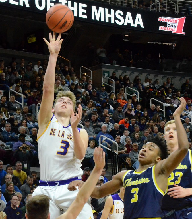 . Clarkston defeated De La Salle in the Class A state semifinal on Friday, 74-49, at the Breslin Center in East Lansing. (Oakland Press photo gallery by Drew Ellis)