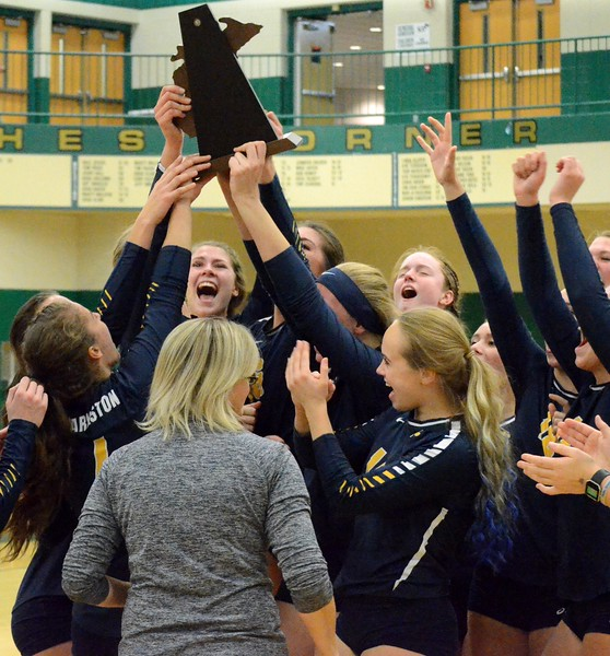 Clarkston defeated Lake Orion in five sets to claim the Class A district volleyball championship at Lake Orion High School on Friday. (MIPrepZone photo by Drew Ellis)