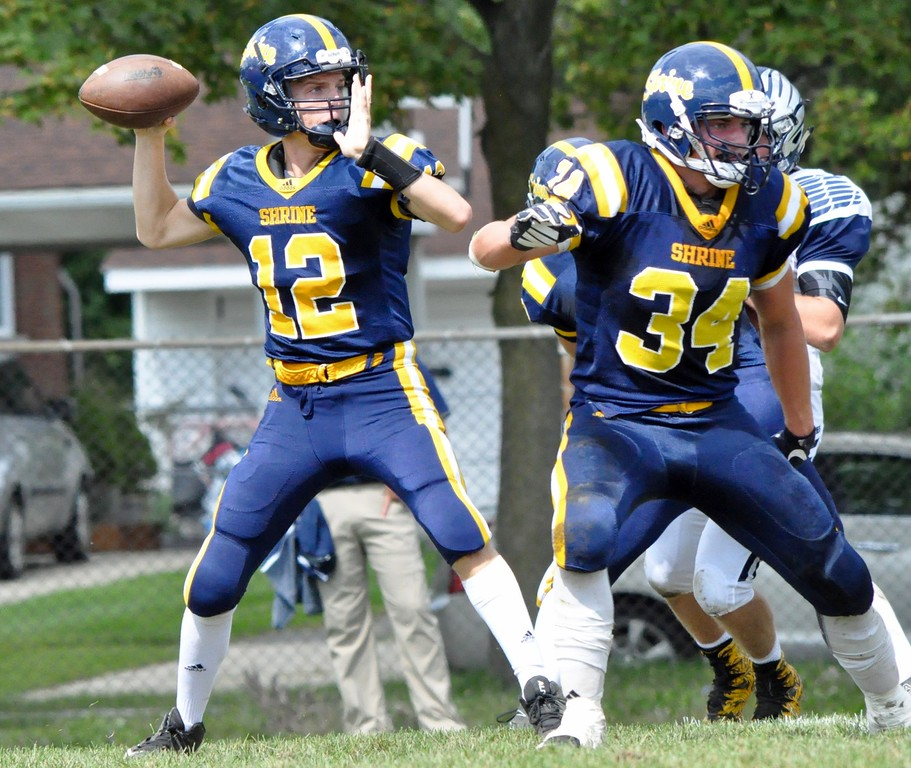 . Royal Oak Shrine hosted Bloomfield Hills Cranbrook Kingswood for a Catholic League football game on Saturday, Sep. 9, 2017. (Photo gallery by Dan Fenner/The Oakland Press)