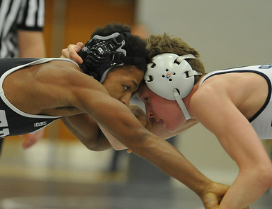 Action from the MHSAA D1 Individual Wrestling District held on Saturday February 10, 2018 at Troy High School.  The top four from each weight class moves on to next week's regional.  (Oakland Press photo by ken Swart)