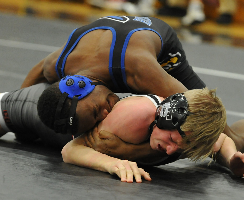 . Action from the MHSAA D1 Individual Wrestling District held on Saturday February 10, 2018 at Troy High School.  The top four from each weight class moves on to next week\'s regional.  (Oakland Press photo by ken Swart)