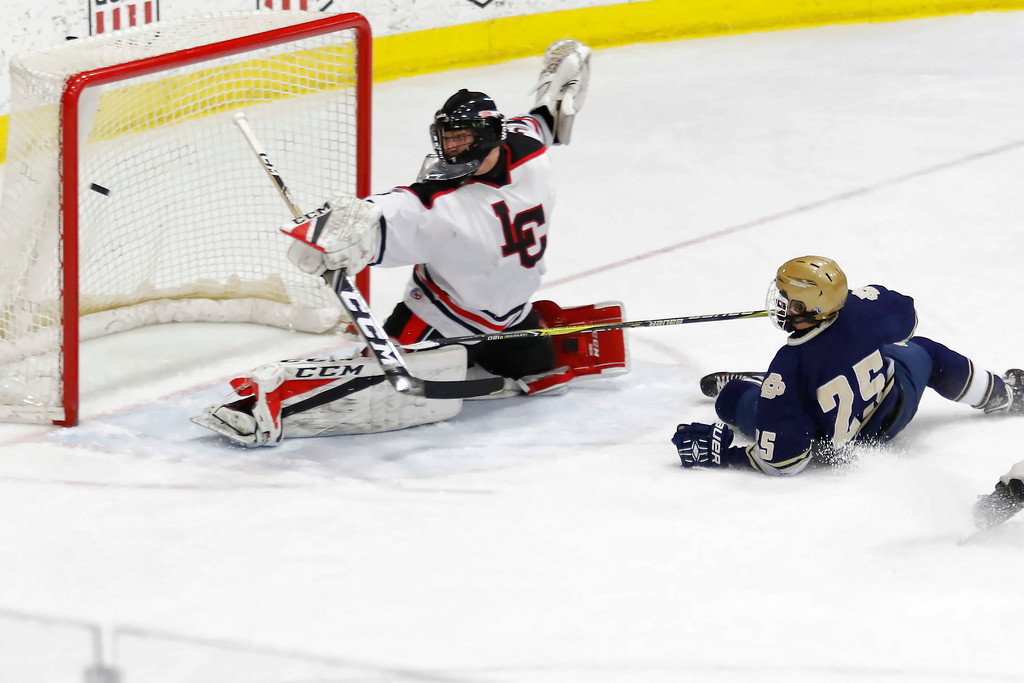. Mickey VanAntwerp (25) scores Detroit Country Day\'s first goal of the day as the YellowJackets survived a late surge by Livonia Churchill to take a 2-1 victory and capture the MHSAA Division III title Saturday March 10, 2018 at USA Hockey Arena in Plymouth. (Oakland Press photo by Timothy Arrick)