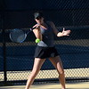 Bloomfield Hills senior Alexa Bernard hits a forehand during her match at No. 1 doubles Monday against Detroit Country Day. (MIPrepZone photo by Jason Schmitt)