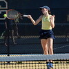 Detroit Country Day's Elle Hartje played singles for the Yellowjackets Monday against Bloomfield Hills, winning her match in straight sets. (MIPrepZone photo by Jason Schmitt)