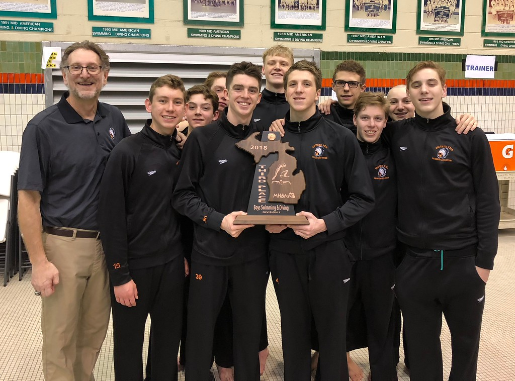 . The Birmingham Brother Rice boys swim team had its four-year state title streak broken Saturday afternoon at the swim and dive state finals. Still, the Warriors finished third and brought home a trophy. (Digital First Media photo by Jason Schmitt)