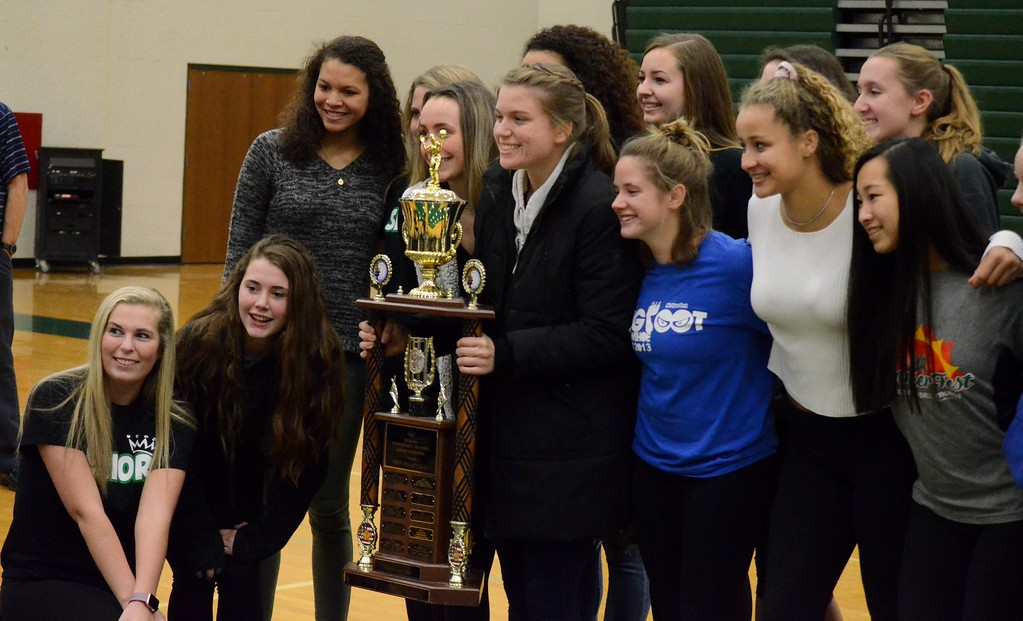 . Novi senior setter Erin O\'Leary was named the 2017 Miss Volleyball winner in a surprise assembly at Novi High School on Monday. (Oakland Press photo gallery by Drew Ellis)