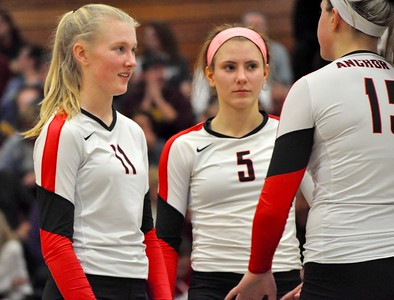 Farmington Hills Mercy faced New Baltimore Anchor Bay in a Class A quarterfinal volleyball match at West Bloomfield High School on Tuesday, Nov. 14, 2017. (Photos by Dan Fenner/The Oakland Press)