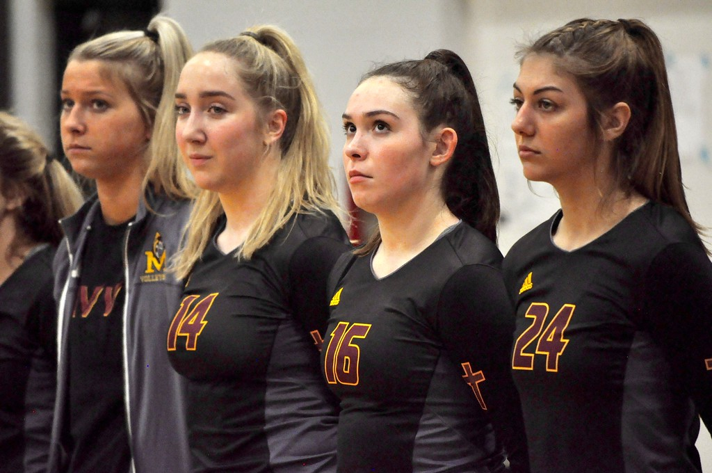 . Farmington Hills Mercy faced New Baltimore Anchor Bay in a Class A quarterfinal volleyball match at West Bloomfield High School on Tuesday, Nov. 14, 2017. (Photos by Dan Fenner/The Oakland Press)