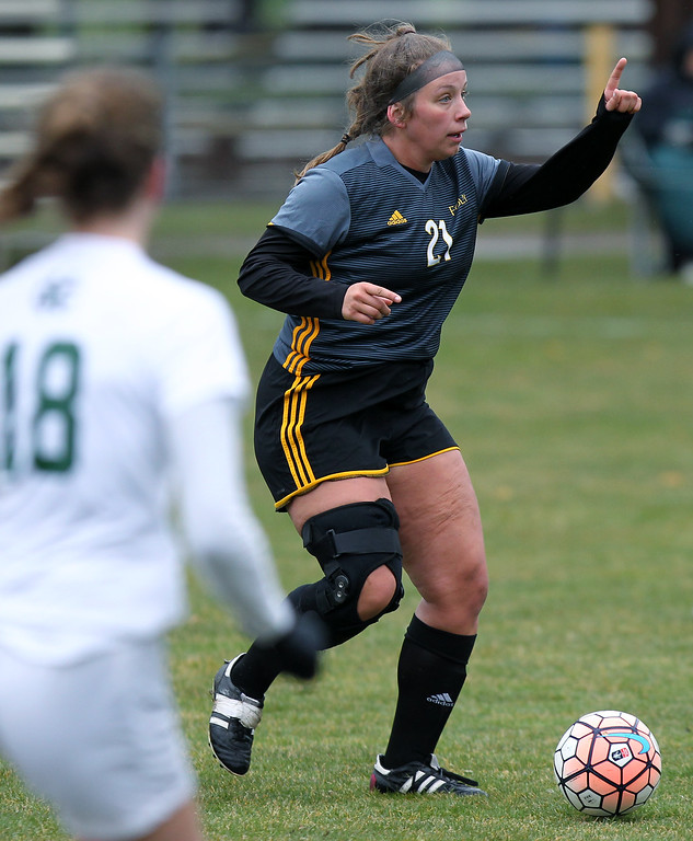 . Madison Heights Bishop Foley defeats Cranbrook-Kingswood 2-0 in varsity soccer action at Cranbrook-Kingswood Saturday, April 14, 2018. (For The Oakland Press / LARRY McKEE)