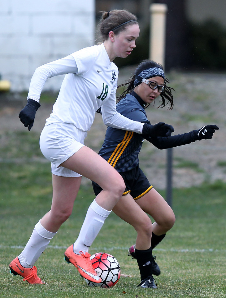 Madison Heights Bishop Foley defeats Cranbrook-Kingswood 2-0 in varsity soccer action at Cranbrook-Kingswood Saturday, April 14, 2018. (For The Oakland Press / LARRY McKEE)