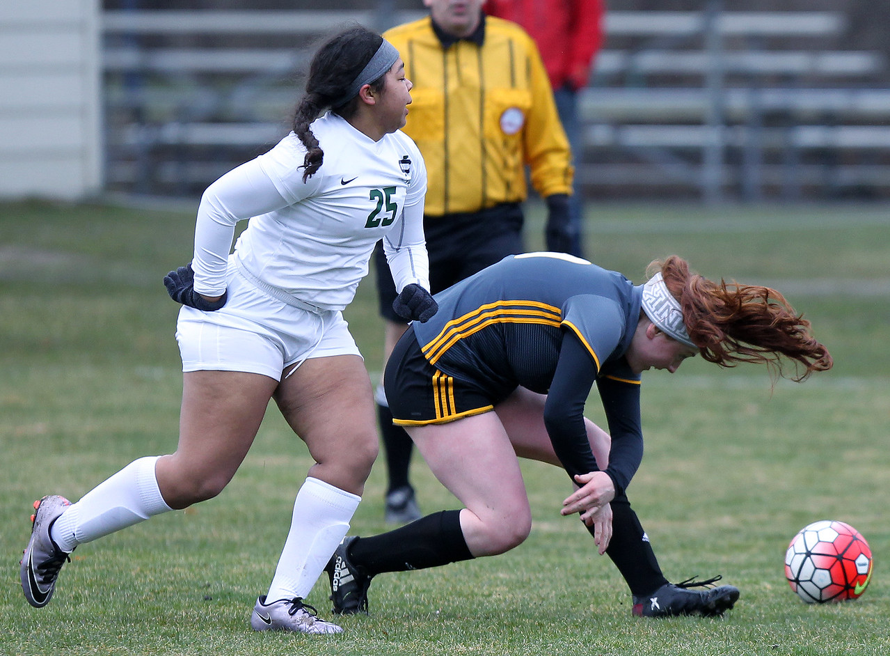 Madison Heights Bishop Foley defeats Cranbrook-Kingswood 2-0 in varsity soccer action at Cranbrook-Kingswood Saturday, April 14, 2018. (For The Oakland Press / LARRY McKEE)