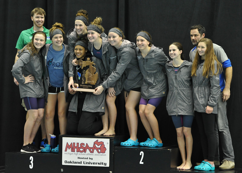 Harrison Farmington finished third in the MHSAA D1 swim meet with 192 points  The meet was held on Saturday Nov. 18, 2017 at Oakland University.  (Oakland Press photo by Ken Swart)