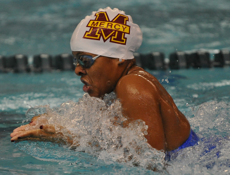 Courtney Connolly of Farmington Hills Mercy competes in the 200 yard IM at the MHSAA D1 swim meet held on Saturday Nov. 18, 2017 at Oakland University. The Marlins wont the state title with 277 points. (Oakland Press photo by Ken Swart)