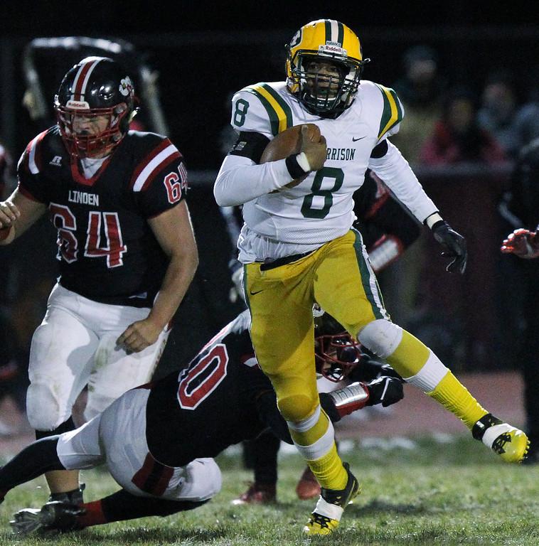 . Farmington Hills Harrison defeats Linden 34-21 in regional final football action Friday, Nov. 10, 2017. (For The Oakland Press / LARRY McKEE)
