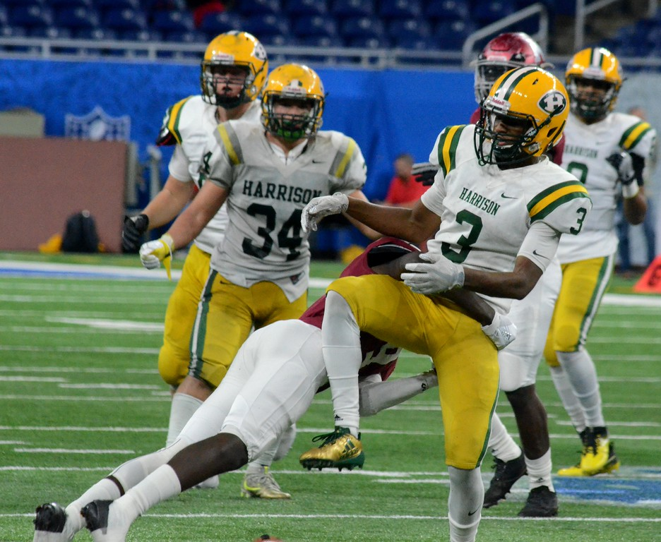 . The Farmington Hills Harrison football team came up short in the Division 3 final on Saturday, losing to Muskegon by a score of 28-10 at Ford Field in Detroit. (Oakland Press photo gallery by Drew Ellis)