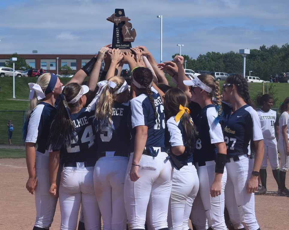 . Clarkston won the softball district championship on Saturday in games also involving Waterford Kettering, Lake Orion and Oxford. (Photo by Paula Pasche)
