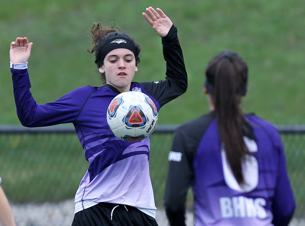 . The Bloomfield Hills Blackhawks defeat Rochester Hills Stoney Creek 2-1 in varsity soccer action at Stoney Creek High School Thursday, May 3, 2018. (For The Oakland Press / LARRY McKEE)