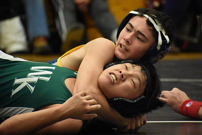 Clarkston walked away with the Division 1 district wrestling title Wednesday at Troy High School. The Wolves defeated both Waterford Mott and then Waterford Kettering at Troy High School. (Digital First Media photo by Jason Schmitt)