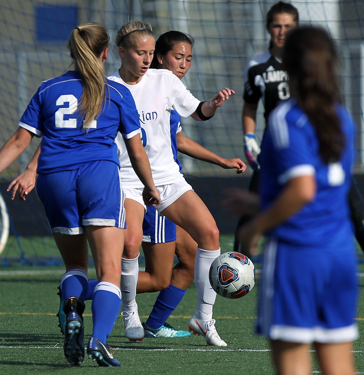 . Birmingham Marian runs away from Madison Heights Lamphere 9-1 in D2 regional semifinal soccer action at Hurley Field in Berkley Wednesday, June 6, 2018. (For The Oakland Press / LARRY McKEE)