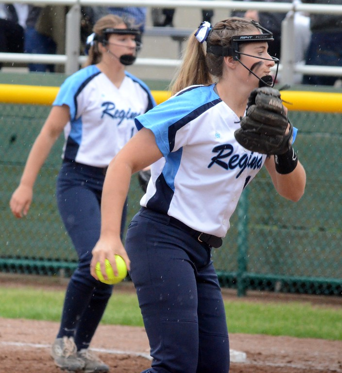 . The Regina softball team edged Farmington Hills Mercy on Monday in the CHSL A/B championship at U-D Mercy, 5-4. (Digital First Media photo gallery by Drew Ellis)
