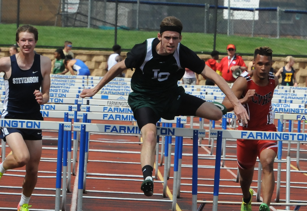 . Tyler Skibicki of Lake Orion wins the men\'s 110M hurdles in a time of 15.05 seconds during the 2nd annual New Balance Invitational track meet held on Saturday May 5, 2018 at Farmington High School.  (Oakland Press photo by Ken Swart)