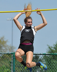 "Tracy Lauren of Walled Lake Northern clears 10'3"" for a personal record during the 59th annual Oakland Country Track meet held on Friday May 25, 2018 at Novi High School.  Oak Park won both the girls and boys titles. (Oakland Press photo by Ken Swart"