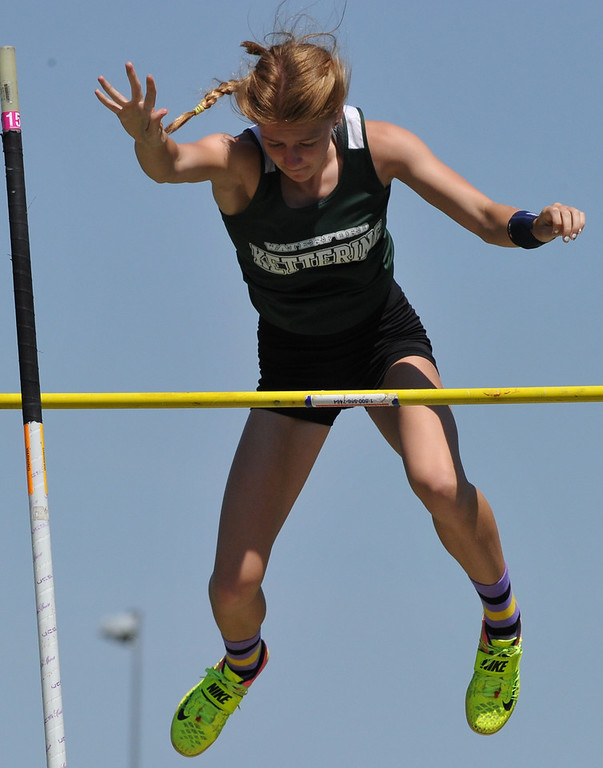 """. Waterford Kettering\'s Jessica Mercier wins the pole vault event as she cleared 12\' 6\"""" during the 59th annual Oakland Country Track meet held on Friday May 25, 2018 at Novi High School.  Oak Park won both the girls and boys titles. (Oakland Press photo by Ken Swart)"""