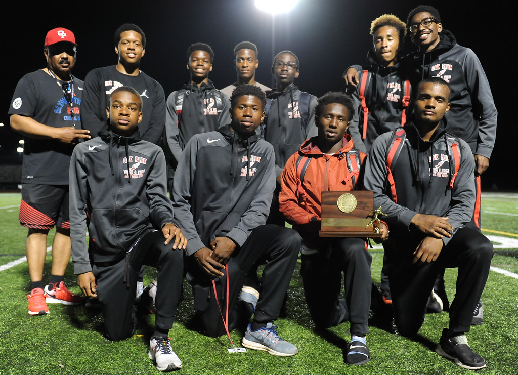 . The Oak Park Boys team won the 59th annual Oakland Country Track meet held on Friday May 25, 2018 at Novi High School. The Knights scored 74 points to beat out  Novi who ended with 50 points. (Oakland Press photo by Ken Swart)