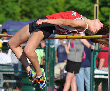 "Jenna Doyle of Troy Athens won the high jump event as she cleared 5'4"" during the 59th annual Oakland Country Track meet held on Friday May 25, 2018 at Novi High School.  Oak Park won both the girls and boys titles. (Oakland Press photo by Ken Swart)"