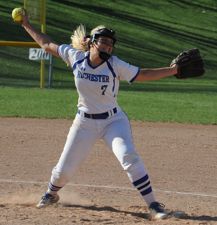 . Rochester pitcher Tori Wendt delivers a pitch during the first game against against Berkley.  Wendt earned the game one win as the Falcons swept the doubleheader over Berkley 10-2, 14-0 (5 innings).  The games were played on Tuesday May 1, 2018 at Rochester High School.  (Oakland Press photo by Ken Swart)