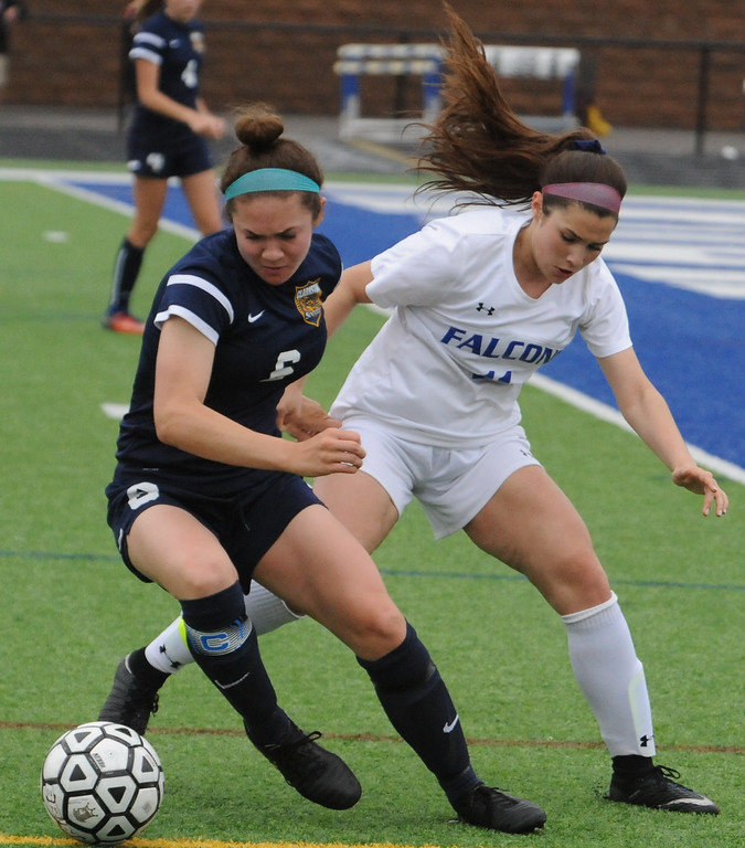 . The Rochester Falcons and Clarkston Wolves played to a 0-0 draw in the OAA Red matchup played on Thursday May 3, 2018 at Rochester High School.  (Oakland Press photo by Ken Swart)