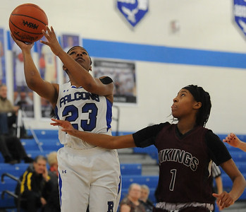 Tori Hunter (23) of Rochester puts up a shot while Hazel Park's Jaysa Larkins defends during the OAA Blue battle played on Wednesday February 13, 2019 at Rochester HS. The Falcons defeated the Vikings 53-22 to improve their league record to 7-0.  (KEN SWART - for Media News Group)
