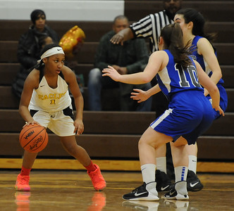 The Rochester Falcons defeated the Ferndale Eagles 48-29 in the OAA Blue match up played on Thursday February 14, 2019 at Ferndale High School.  Rochester moves to 8-0 in the league.  (KEN SWART - for Media News Group)