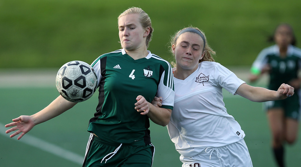 . Birmingham Seaholm and West Bloomfield square off in varsity soccer action Seaholm High School Thursday, May 17, 2018. (For The Oakland Press / LARRY McKEE)