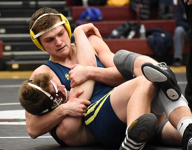 Hartland senior Reece Potter (top) looks to pin U-D Jesuit's Jonas Padilla during their 160-pound match Wednesday night. Potter picked up a 19-3 technical fall victory, as his Eagles defeated the Cubs to capture a Division 1 regional title. (JASON SCHMITT - For Media News Group)
