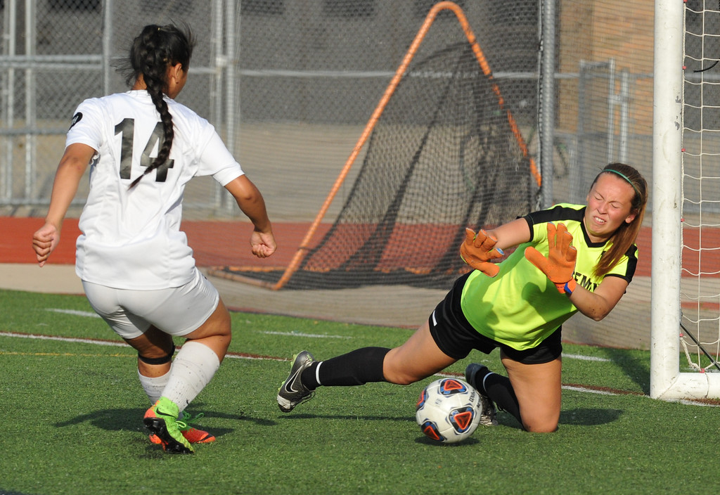 . Troy\'s Jessica Chen (14) scores the game winning goal as Grosse Pointe North\'s goalkeeper Hannah Martin tries for the save.   The Colts defeated GPN 5-0 to win the MHSAA D1 Regional played on Thursday June 7, 2018 at Troy Athens HS.  The Colts will play Novi in next Tuesday\'s Semi-final match at Stoney Creek HS.  (Oakland Press photo by Ken Swart)