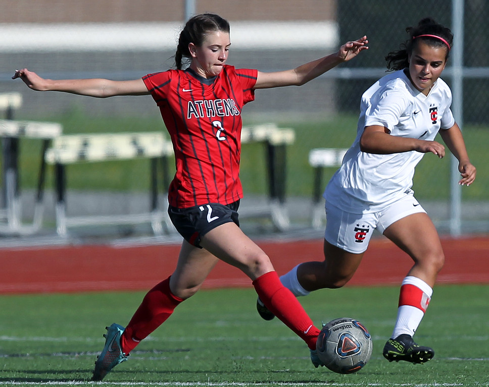 . Sierra Gillies (2), Troy Athens, steps in front of defender Alexa Kotsovos, Troy, during varsity soccer action at Troy High School Thursday, May 10, 2018. Athens fell to Troy 2-1. (For The Oakland Press / LARRY McKEE)
